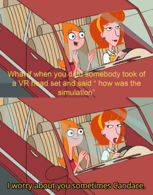 """How, Set, and You: Whalf when you die somebody took of  a VR ad set and said """" how was the  simulation""""  I worry about you sometimes Candace. What if though?"""