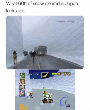 Bowser driving that bus: What 60ft of snow cleared in Japan  looks like.  Instagram: Pubity  TIME 00 48 56  LAP 1/3  7  2  3  ఇ Bowser driving that bus