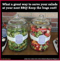 What a great way to serve your salads  at your next BBQ! Keep the bugs out!  SWEETH  MANDARIN  FRUIT  Dollar Store Crafter www.  cowie scraftandcooking  corner.blogspot.ca  via The Idea Room Keep The Salads Bug Free At Your Next BBQ LINK>> bbq salads bbqtips hints foodtips
