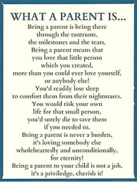 Comfortable, Life, and Love: WHAT A PARENT IS  Being a parent is being there  through the  tantrums,  he milcstones and thc tears.  Bcing a paet ans tha  you love thar litclc person  which you creaced,  more than you could ever love yourself,  or anybody cisc  You'd readily lose sleep  to comfort them from their nightmares.  You would risk your own  life for that small person,  you'd surely die to save them  fou nceded to  Being a parent is never a burden,  t's loVing Somebody clse  Wholclhcartclly and unconditionally,  for eternicy  Bein a paren o your child is not a job,  it's a priviledge, cherish it!