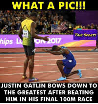 In The World Full Of Followers, Be A Leader !!! #Legend #ForeverFastest: WHAT A PIC!I!  BOLT  TAIZ SPORTS  ps  JUSTIN GATLIN BOWS DOWN TO  THE GREATEST AFTER BEATING  HIM IN HIS FINAL 100M RACE In The World Full Of Followers, Be A Leader !!! #Legend #ForeverFastest