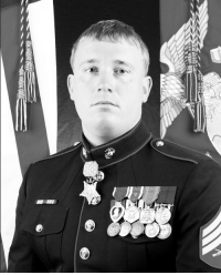 """WHAT A REAL HERO LOOKS LIKE @dakotameyer0317 On this day in 2009, near Ganjgal, Afghanistan, Marine Corporal Dakota Meyer charged into heavy gunfire multiple times to rescue comrades under attack from the Taliban. Over the course of the six-hour firefight, Meyer killed at least eight Taliban, personally evacuated 12 friendly wounded, and provided cover for another 24 Marines and soldiers. For """"his extraordinary heroism, presence of mind amidst chaos and death, and unselfish devotion to his comrades in the face of great danger,"""" Meyer was awarded the Medal of Honor in September 2011. Read his full citation here: For conspicuous gallantry and intrepidity at the repeated risk of his life above and beyond the call of duty as a member of Marine Embedded Training Team 2-8, Regional Corps Advisory Command 3-7, in Kunar Province, Afghanistan, on 8 September 2009. When the forward element of his combat team began to be hit by intense fire from roughly 50 Taliban insurgents dug-in and concealed on the slopes above Ganjgal village, Corporal Meyer mounted a gun-truck, enlisted a fellow Marine to drive, and raced to attack the ambushers and aid the trapped Marines and Afghan soldiers. During a six-hour firefight, Corporal Meyer single-handedly turned the tide of the battle, saved 36 Marines and soldiers and recovered the bodies of his fallen brothers. Four separate times he fought the kilometer up into the heart of a deadly U-shaped ambush. During the fight he killed at least eight Taliban, personally evacuated 12 friendly wounded, and provided cover for another 24 Marines and soldiers to escape likely death at the hands of a numerically superior and determined foe. On his first foray, his lone vehicle drew machine gun, mortar, rocket grenade and small arms fire while he rescued five wounded soldiers. His second attack disrupted the enemy's ambush and he evacuated four more wounded Marines. Switching to another gun-truck because his was too damaged they again sped in for a third"""