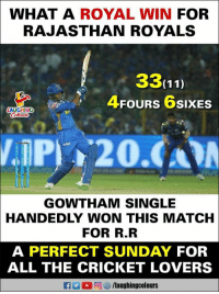 Cricket, Match, and Royals: WHAT A ROYAL WIN FOR  RAJASTHAN ROYALS  3311)  4FOURS 6sIxES  AUGHING  Colon  GOWTHAM SINGLE  HANDEDLY WON THIS MATCH  FOR R.R  A PERFECT SUNDAY FOR  ALL THE CRICKET LOVERS #KrishnappaGowtham #RRvMI
