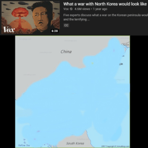"""The aftermath of the """"Christmas present"""" that North Korea is giving the US: What a war with North Korea would look like  Vox O 4.6M views • 1 year ago  Five experts discuss what a war on the Korean peninsula woul  and the terrifying .  Vox  6:28  A apo  Russia  China  ajin  A n.com  haup.com  South Korea  Yellow Sea  2017 Copyright C AnnaMap.com The aftermath of the """"Christmas present"""" that North Korea is giving the US"""