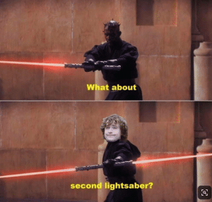 Lightsaber, Crossover, and What: What about  second lightsaber? I approve the crossover