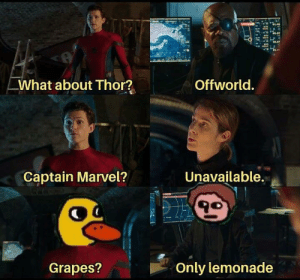 Marvel, Thor, and Normie: What about Thor?  Offworld.  Unavailable.  Captain Marvel?  Only lemonade  Grapes? If you don't get this, you are a normie