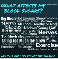 Memes, Sports, and Diabetes: WHAT AFFECTS My  wwwo diabetic vearcom  BLOOD SUGARS?  Big meals Not Enough Sleep D  diation  Incorrect Carb Counting Caffeine  Sports All OO  Healthy or Not)  Stress Holiday Dining Out  Hormones Peer Pressure  Inconsistent Schedule Sweets  Nerves  Too Much Sleep other Medications Illness  Eating Too Much for a Low Partnes  Emotional for a Meal  Exercise  Situations  Not Dosing Enough for a Meal  AND THIS ONLY SCRATCHES THE SURFACE Is there anything missing from this list?