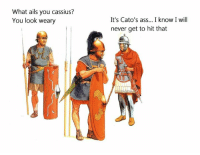What ails you cassius?  You look weary  It's Cato's ass... I know I will  never get to hit that