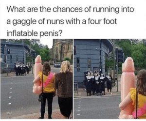 inflatable: What are the chances of running into  a gaggle of nuns with a four foot  inflatable penis?  111