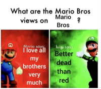 Love, Memes, and Tumblr: What are the Mario Bros  Mario 2  Bros  views on  Mario say  1 love all B  luigi says  Better  brothers dead  very  much  than  red 30-minute-memes:  Hol' up  @luigiappreciation