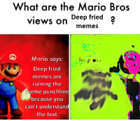 Deep Fried: What are the Mario Bros  views on Deep fried 2  memesS  Mario says  Deep fried  memes are  ruining the  meme punchline  because you  can't understand  the text