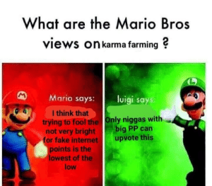 Dank, Fake, and Internet: What are the Mario Bros  views On karma farming ?  Mario says: luigi says  I think that  trying to fool the Only niggas with  not very bright big PP can  or fake internet upvote this  points is the  lowest of the  low Big if true by someonethatexists MORE MEMES