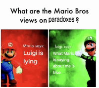 True, Mario, and Lying: What are the Mario Bros  views on paradoxes a  Mario says:  luigi says  Luigi is What Mario  lying is saying  about me is  true https://t.co/ujahRHbA4v