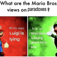 True, Mario, and Lying: What are the Mario Bros  views on paradoxes  Mario says:  Luigi IS | What Mario  lying  Uigi says  s saying  about me is  true Damn bro