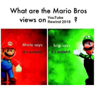 Mario, Bullshit, and Mario Bros: What are the Mario Bros  views on Rewind 2018  YouTube2  Mario says: luigi says  It's bullshit.  It's bullshit. It really was tho