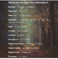 Bad, Halloween, and Sexy: What are the signs for Halloween?  Aries: Roman soldier  Taurus: Taco  Gemini: a rainbow  Cancer: a ghost (made of white  table cloth)  Leo: A giraffe  Virgo: an angel  Libra: satin  Scorpio: A clown  Sagittarius: a sexy crayon  Capricorn: a bad zombie  Aquarius: vampire  Pisces: a foot