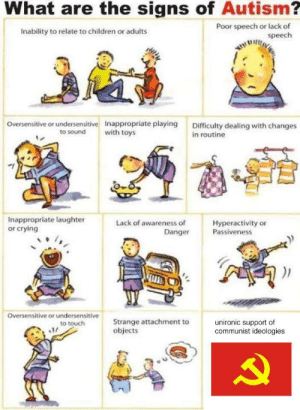 Signs of Autism by YoshiDaPotato FOLLOW 4 MORE MEMES.: What are the signs of Autism?  Poor speech or lack of  speech  Inability to relate to children or adults  Oversensitive or undersensitive Inappropriate playing  Difficulty dealing with changes  in routine  to sound  with toys  Inappropriate laughter  or crying  Lack of awareness of  Hyperactivity or  Passiveness  Danger  Oversensitive or undersensitive  Strange attachment to  objects  to touch  unironic support of  communist ideologies Signs of Autism by YoshiDaPotato FOLLOW 4 MORE MEMES.
