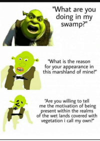 """Dank, Meme, and Memes: """"What are vou  doing in my  swamp?""""  """"What is the reasorn  for your appearance in  this marshland of mine?""""  Are you willing to tell  me the motivation of being  resent within the realms  of the wet lands covered with  vegetation i call my own?"""" <p>Shrek memes because Reddit. via /r/dank_meme <a href=""""http://ift.tt/2t7FErf"""">http://ift.tt/2t7FErf</a></p>"""
