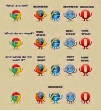 browser: What are we?  BROWSERS  BROWSERS! BROWSERS!  MORE  MORE  MORE  What do we want?  SPEED!  SPEED!  SPEED!  And when do we  RIGHT  RIGHT  RIGHT  want it?  NOW!!  NOW!!  NOW!!  BROWSERS!