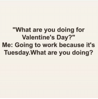 "Girl Memes, Are You Doing, and  Go to Work: ""What are you doing for  Valentine's Day?""  Me: Going to work because it's  Tuesday What are you doing? R😍MANCE (@makeupbymario)"