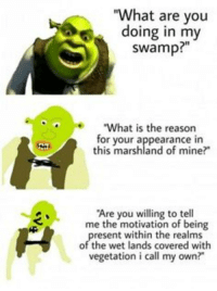 """Memes, Reason, and Mine: """"What are you  doing in my  swamp?""""  e""""What is the reason  for your appearance in  this marshland of mine?  Are you willing to tell  me the motivation of being  resent within the realms  of the wet lands covered with  vegetation i call my own?"""" <p>tactical sherk mem via /r/memes <a href=""""https://ift.tt/2GFIjiy"""">https://ift.tt/2GFIjiy</a></p>"""