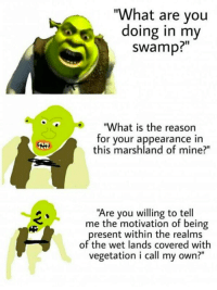 "What Are You Doing In My Swamp: ""What are you  doing in my  swamp?""  ""What is the reason  for your appearance in  this marshland of mine?""  ""Are you willing to tell  me the motivation of being  present within the realms  of the wet lands covered with  vegetation i call my own?"""