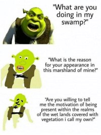"I love these: ""What are you  doing in my  swamp?""  ""What is the reason  for your appearance in  this marshland of mine?""  ""Are you willing to tell  me the motivation of being  present within the realms  of the wet lands covered with  vegetation i call my own?"" I love these"