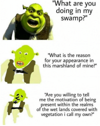"-> TagAFriend & Follow @dailymemex for more posts daily - memes meme memesdaily funny girl picoftheday beautiful 21savage me love 420 HoodHumor HoodJokes Comedy Jokes spongebob ZeroChill omg faze lol drake drizzy: ""What are you  doing in my  swamp?  ""What is the reason  for your appearance in  this marshland of mine?""  ""Are you willing to tell  me the motivation of being  present within the realms  of the wet lands covered with  vegetation i call my own?"" -> TagAFriend & Follow @dailymemex for more posts daily - memes meme memesdaily funny girl picoftheday beautiful 21savage me love 420 HoodHumor HoodJokes Comedy Jokes spongebob ZeroChill omg faze lol drake drizzy"