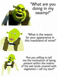 "These are getting out of hand: ""What are you  doing in my  swamp?""  ""What is the reason  for your appearance in  this marshland of mine?""  Are you willing to tel  me the motivation of being  present within the realms  of the wet lands covered with  vegetation i call my own?"" These are getting out of hand"