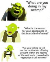 "What Are You Doing In My Swamp: ""What are you  doing in my  swamp?""  ""What is the reason  for your appearance in  this marshland of mine?""  Are you willing to tell  me the motivation of being  resent within the realms  of the wet lands covered with  vegetation i call my own?"""