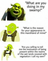 "Dank, What Is, and Reason: ""What are you  doing in my  swamp?""  What is the reason  for your appearance in  this marshland of mine?  Are you willing to tell  me the motivation of being  resent within the realms  of the wet lands covered with  vegetation i call my own? Get inside my swamp"