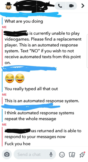 """Posted during christmas party: What are you doing  ME  s is currently unable to play  videogames. Please find a replacement  player. This is an automated response  system. Text """"NO"""" if you wish to not  receive automated texts from this point  on.  You really typed all that out  ME  