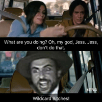 oh my god: What are you doing? Oh, my god, Jess. Jess,  don't do that.  NETFLIX  Wildcard Bitches!