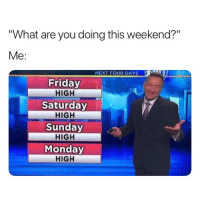 "Friday, Weed, and Forecast: ""What are you doing this weekend?""  Me:  NEXT FOUR DAYS  Friday  HIGH  Saturday  HIGH  Sunday  HIGH  Monday  HIGH weekend forecast on point 👌😂"