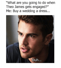 """Memes, Dress, and Wedding: """"What are you going to do when  Theo James gets engaged?""""  Me: Buy a wedding a dress...  Duh... 😂😂😂😂"""