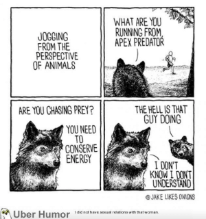 Energy, Tumblr, and Animal: WHAT ARE YOU  RUNNING FROM  APEX PREDATOR  JOGOING  FROM THE  PERSPECTIVE  OF ANIMAL  THE HELL IS THAT  GUY DOING  ARE YOU CHASING PREY?  YOU NEED  TO  CONSERVE  ENERGY  I DON'T  KNOW I DONT  UNDERSTAND  @JAKE LIKES ONIONS  I did not have sexual relations with that woman failnation:Jogging