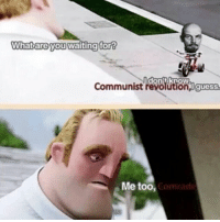 . . . . . . incredibles communist communism meme memes meme dank triggered meme weed: What are  you waiting for?  Communist  revolution,oguess.  Me too,  Comrade . . . . . . incredibles communist communism meme memes meme dank triggered meme weed