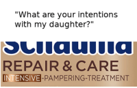 "Whole care package included: ""What are your intentions  with my daughter?""  REPAIR & CARE  INTENSIVE-PAMPERING-TREATMENT Whole care package included"