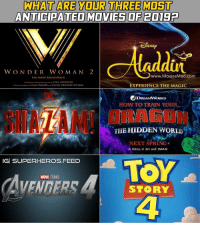 Batman, Imax, and Memes: WHAT ARE YOUR THREE MOST  ANTICIPATED MOVIES OF 20192  WON DER W OM AN 2  www.MoviesMad.com  FAN MADE SOUNDTRACK  COMPOSED AND ORCHESTRATED BY STAN LOCKFIELD  ORIGINAL THEMES BY HANS ZIMMERAND RUPERT GREGSON-WILIAMS  EXPERIENCE THE MAGIC  DC  DREAMWORKS  HOW TO TRAIN Youn,  SHMAM!ORAON  ORAGON  THE HIDDEN WORLD  NEXT SPRING  In REAL D 3D and IMAX  IGİ SUPERHEROS.FEED  MARVEL STUDIOS  VENGERS  STORY  THE  4 Comment below!!! 2019 is gonna be mind blowing. Blackpanther Mcu Marvel dc dccomics dceu dcu dcrebirth dcnation dcextendeduniverse batman superman manofsteel thedarkknight wonderwoman justiceleague cyborg aquaman martianmanhunter greenlantern venom spiderman infinitywar avengers avengersinfintywar ironman thanos