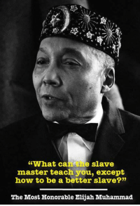"""What can the slave master teach you except how to be a better slave?"" --The Most Honorable Elijah Muhammad: ""What ca  e slave  master teach you, except  how to be a better slave?""  The Most Honorable Elijah Muhammad ""What can the slave master teach you except how to be a better slave?"" --The Most Honorable Elijah Muhammad"