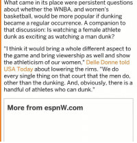 """Basketball, Dunk, and Memes: What came in its place were persistent questions  about whether the WNBA, and women's  basketball, would be more popular if dunking  became a regular occurrence. A companion to  that discussion: Is watching a female athlete  dunk as exciting as watching a man dunk?  """"I think it would bring a whole different aspect to  the game and bring viewership as well and show  the athleticism of our women  Delle Donne told  USA Today  about lowering the rims. """"We do  every single thing on that court that the men do,  other than the dunking. And, obviously, there is a  handful of athletes who can dunk.""""  More from espnW-com """"And show the athleticism of our women"""" she says about lowering the height of a basketball goal so more women can dunk 😂😂😂 what a contradiction. I've been reading about the athletic differences between women and men, they're pretty obvious. Since 2014 there has only been 11 dunks in the WNBA, in a NBA game you can expect that many dunks in one game. Liberals shouldn't use the viewership differences or sports in general as an example of inequality unless they're talking about how women high school teams don't receive near as much funding as the men's team in the same sport which is a problem. In all the Olympic sports the woman record is between 86-94% of what the men's record is, women are more prone to injury in sport (scientifically proven, they've got less muscle mass around their joints which results in more injuries), just about any way you look at it the typical man is more athletic and the atypical professional player is way more athletic"""