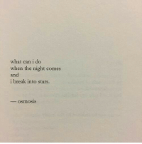 What Can I Do: what can i do  when the night comes  and  i break into stars.  - osmosis