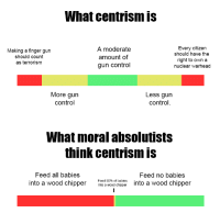 """Tumblr, Control, and Blog: What centrism is  Making a finger gun  should count  as terrorism  A moderate  amount of  gun control  Every citizen  should have the  right to own a  nuclear warhead  More gurn  control  Less gun  control  What moral absolutists  think centrism is  Feed all babies  into a wood chipper  Feed no babies  into a wood chipper  Feed 50% of babies <p><a href=""""http://superllama42.tumblr.com/post/163431626873/some-people-dont-get-it-so-i-made-a-handy-guide"""" class=""""tumblr_blog"""">superllama42</a>:</p><blockquote><p>Some people don't get it so I made a handy guide.<br/></p></blockquote>  <p>I'm not even a centrist but this is great</p>"""