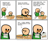 Heroin, Memes, and Cyanide and Happiness: WHAT CHA GOT  THERE, SON? A  TIME MACHINE?  HEROIN  YEAH!! I'M GONNA  DESTROY THE FUTURE!  UHH... I THINK WANNA  GO BACKWARDS IN TIME  INSTEAD  Cyanide and Happiness Explosm.net  HAHA, NOW SON... YOU  DON'T NEED A TIME  MACHINE TO DESTROY  YOUR FUTURE.  SHROOMS  HEROIN https://t.co/buwIJNF7q3
