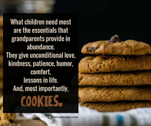 50 Great Happy Grandparents Day Quotes #sayingimages #grandparentsday #grandparentsdayquotes #happygrandparentsday #grandparentsquotes: What children need most  are the essentials that  grandparents provide in  abundance.  They give unconditional love,  kindness, patience, humor.  comfort,  lessons in life.  And, most importantly,  COOKIES  ayingimages.com 50 Great Happy Grandparents Day Quotes #sayingimages #grandparentsday #grandparentsdayquotes #happygrandparentsday #grandparentsquotes