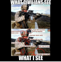 America, Friends, and Memes: WHAT CIMLIANS SEE  nvg's still mounted  during daytime  CAR  Unserviceable  kevlar cover  mproper stock weld  0  weapon still on safe  not shouldered  non-melt resistant gloves  poor use of cover  blanks  improper use of sling  WHATTSEE . ✅ Double tap the pic ✅ Tag your friends ✅ Check link in my bio for badass stuff - usarmy 2ndamendment soldier navyseals gun flag army operator troops tactical armedforces weapon patriot marine usmc veteran veterans usa america merica american coastguard airman usnavy militarylife military airforce tacticalgunners