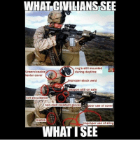 Memes, 🤖, and Car: WHAT CIVILIANS SEE  Unserviceable  kevlar cover  nvg's still mounted  during daytime  CAR  mproper stock weld  0  weapon still on safe  not shouldered  poor use of cover  blanks  improper use of sling  WHATTSEE