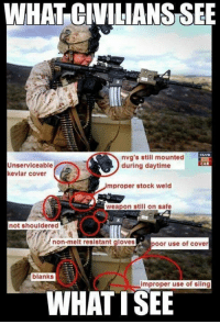 Covers, Stocks, and Military: WHAT CIVILIANSSEE  nvg's still mounted  CAR  Unserviceable  during daytime  kevlar cover  improper stock weld  weapon still on safe  not shouldered  non-melt resistant gloves  poor use of cover  blanks  improper use of sling  WHAT TSEE