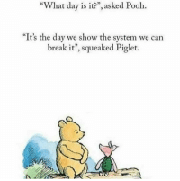 "They proceeded to infest the 100 acre wood infrastructure and put an end to Christopher Robin's evil tyranny.: ""What day is it?"", asked Pooh.  ""It's the day we show the system we can  break it"", squeaked Piglet. They proceeded to infest the 100 acre wood infrastructure and put an end to Christopher Robin's evil tyranny."
