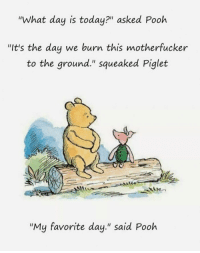 "Tumblr, Blog, and Http: ""What day is today?"" asked Pooh  ""It's the day we burn this motherfucker  to the ground."" squeaked Piglet  ""My favorite day."" said Pooh <p><a href=""http://mizpah-bonheur.tumblr.com/post/161547040478/comey-on-thursday-fingers-crossed"" class=""tumblr_blog"">mizpah-bonheur</a>:</p>  <blockquote><p>Comey on Thursday. Fingers crossed.</p></blockquote>"